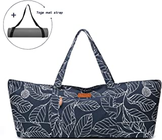 ELENTURE Large Yoga Mat Tote Bag, Yoga Carrier Sling Bag with Multi-Functional Storage Pockets for Sports Gym Pilates
