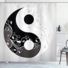 Ambesonne Ying Yang Decor Collection, Floral Design Swirling Branches Leaves Pattern Flow of Energy Cultural Graphic Print, Polyester Fabric Bathroom Shower Curtain Set with Hooks, Black White