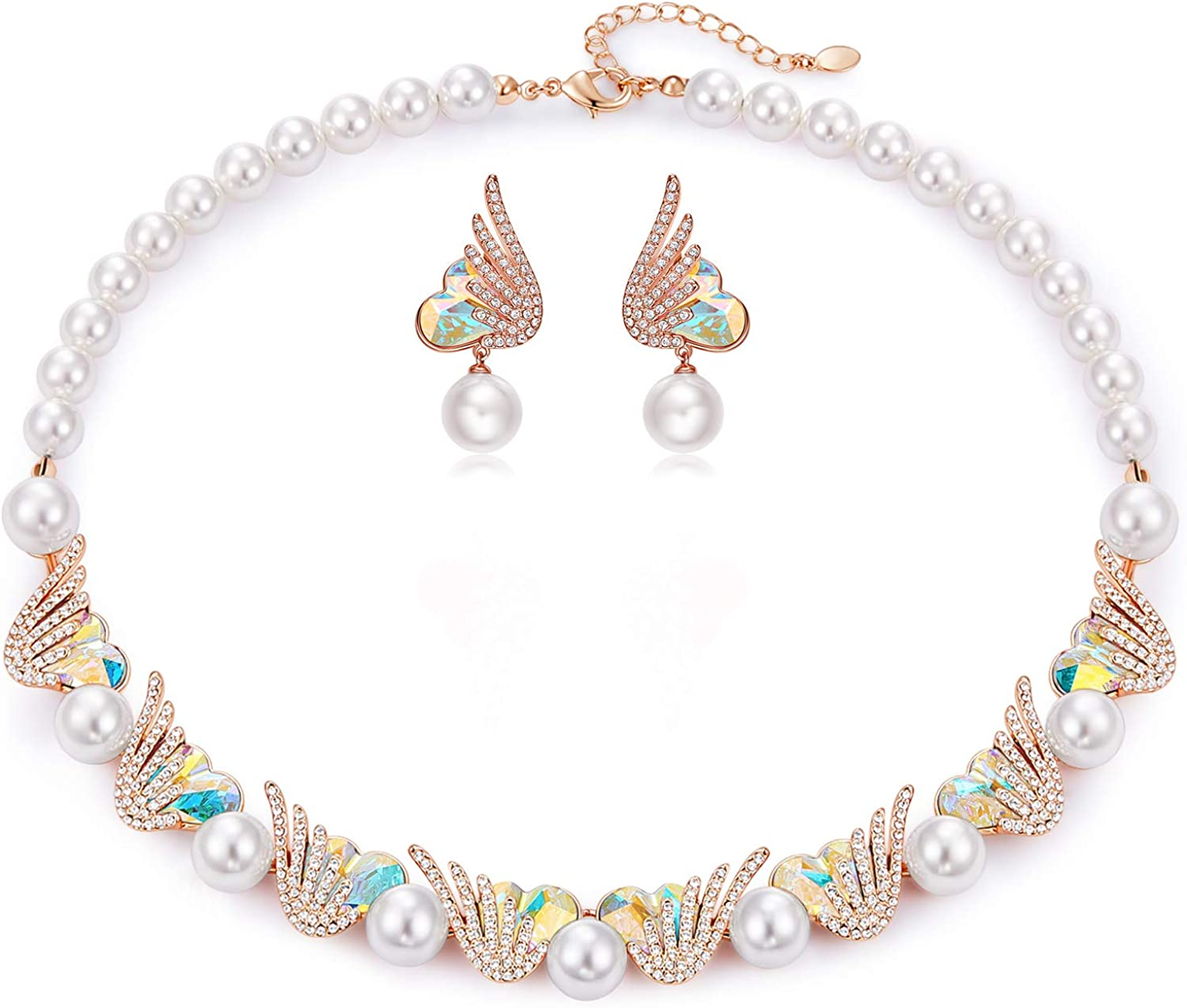 CDE Pearl Necklace and Earrings Set for Women Mother's Day Jewelry Gifts  Embellished with Crystals and Pearls Rose Gold Plated Christmas Jewelry  Gift ...
