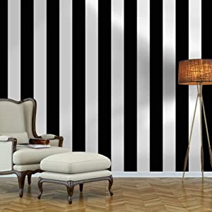 Guvana Stripe Peel and Stick Wallpaper Black and White Self-Adhesive Wallpaper 394