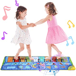 鍵盤 マット 音楽マット Hricane ピアノ マット ミュージックマット 10鍵盤 9曲デモ曲 8種類楽器音 ピアノ 楽器 おもちゃ スピーカー搭載 録音機能 再生機能 音量調整 ワンキーワントーン 折り畳み式 滑り止め 知育玩具(130 ...