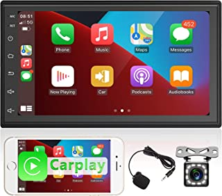 $89 » Apple CarPlay Double Din Car Stereo, Rimoody 7 Inch Touchscreen Car Radio with Bluetooth FM Mirror Link Support Subwoofer ...