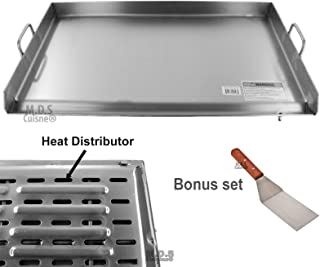 M.D.S Cuisine Cookwares Griddle Stainless Steel Flat Top with Reinforced Brackets Under Griddle-Heat Distributor Heavy Duty Comal Plancha 36