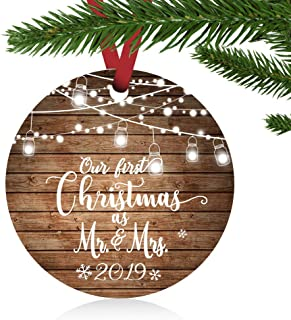 ZUNON First Christmas Ornaments 2019 Our First Christmas as Mr & Mrs Couple Married Wedding Decoration 3