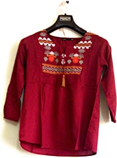 0763edebcc ZARA Women's Cotton Kurti (RUC 80089348-417088A, Maroon)