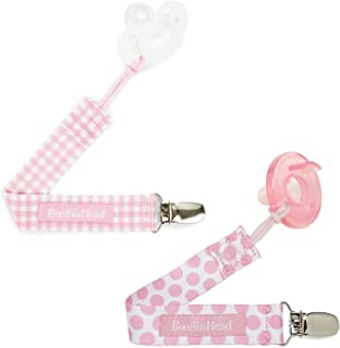 BooginHead Baby Newborn PaciGrip Pacifier Clip, Pastel Layette Gingham Polka Dots, Pink (Pack of 2)
