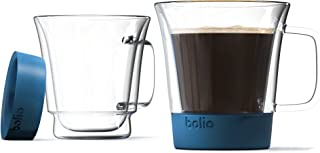 Bolio-Double Wall Glass Mug - Silicone Bottom For More A Better Feel and More Safety- No Slip - Much More Solid Feel Than Traditional Double Wall Mugs- Less Breakable (Blue, Set of 2)