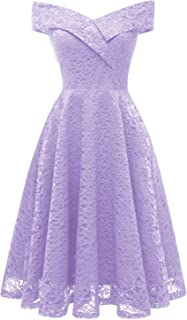 ANCHOVY Womens Floral Lace Cocktail Party Dress Vintage Off Shoulder Bridesmaid Swing Dress C79