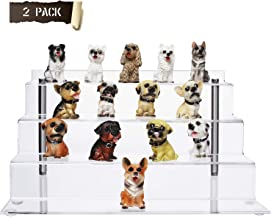 CECOLIC 2 Pack Acrylic Risers for Amiibo Funko Pops Figures, 4-Step Display Stands with 2 Stainless Steel Rods 12in x 6.3in