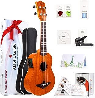 AKLOT Electric Acoustic Soprano Ukulele Solid Mahogany Ukelele 21 inch Beginners Starter Kit with Free Online Courses and Ukulele Accessories Electric 21