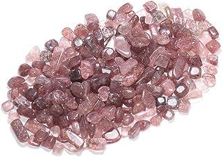 ZenQ 1 lb Strawberry Quartz Tumbled Stone Chips Crushed Natural Crystal Quartz Pieces