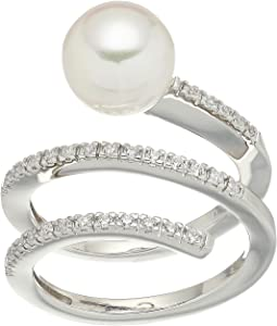White Round Pearl and CZ Spiral Sterling Silver Ring