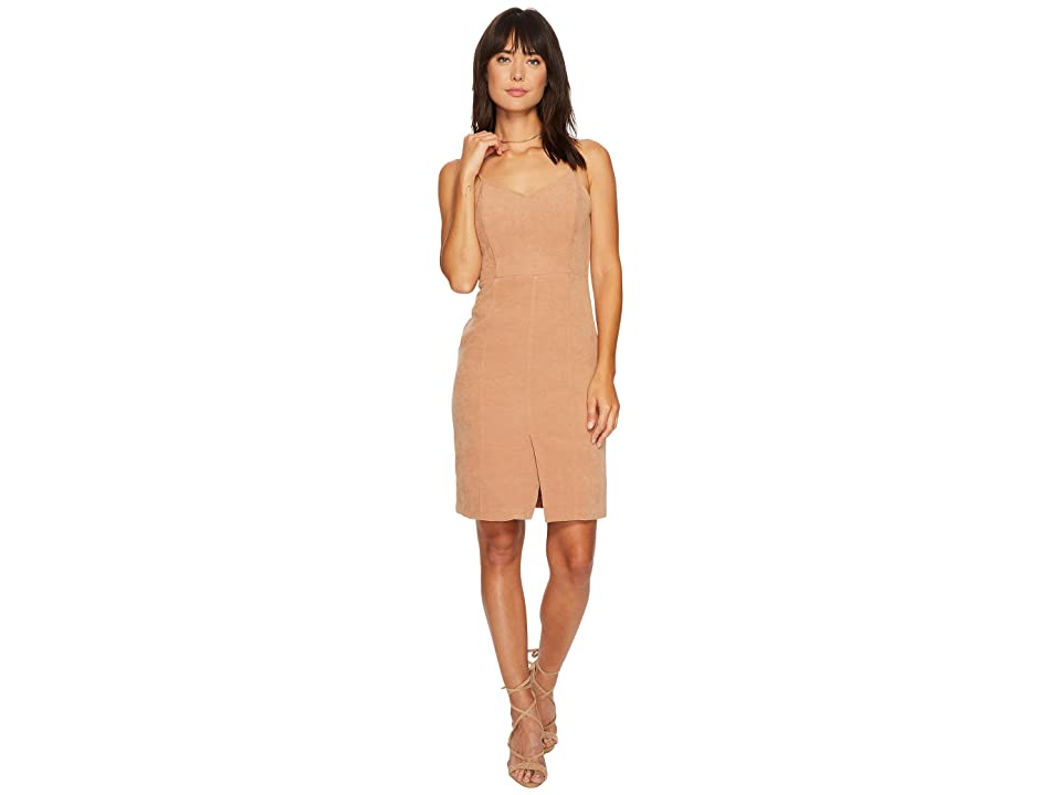 J.O.A. Front Slit Fitted Dress (Dark Brown) Women