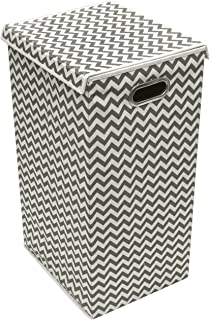 Sorbus Laundry Hamper Basket Sorter with Lid Closure - Foldable Hamper Bin, Detachable and Removable Lid, Portable Built-in Handles for Easy Transport (Printed Chevron Gray Interior)