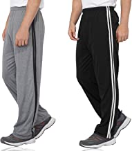Fflirtygo Combo of Men's Cotton Track Pants, Joggers for Men, Men's Leisure Wear, Night Wear Pajama, Black and Grey Color with Stripes and Pockets for Sports Gym Athletic Training Workout