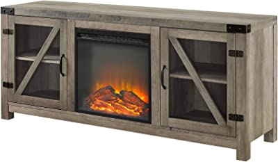 """Walker Edison Farmhouse Barn Wood and Glass Fireplace Stand for TV's up to 64"""" Flat Screen Living Room Storage Cabinet Doors and Shelves Entertainment Center, 58 Inch, Grey Wash"""