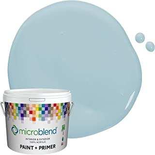 Microblend Exterior Paint and Primer - Blue/Calming Thoughts, Eggshell Sheen, 2-Gallon, Premium Quality, One Coat Hide, Lo...