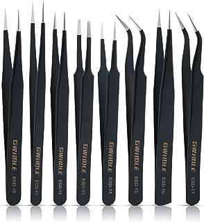 GWHOLE 8 Pcs Tweezers Precision ESD Anti-Static Stainless Steel Tweezers for Electronics, Jewelry-Making, Laboratory Work,...