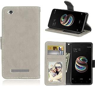 ShuiSu Flip Cover Case for Xiaomi Redmi 5A, Retro Matte Premium PU Leather Soft Silicone Magnetic Closure Kickstand Wallet Card Pockets Protective Shell -Grey