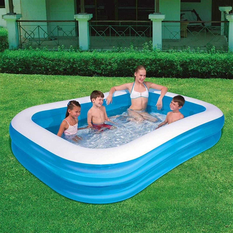 SWIMDQ Rechteckiger aufblasbarer Familien-Planschpool für Kinder und Erwachsene Fun Lounge Pool Float Blau Mehrere Gren erhltlich ab 3 Jahren (gre   103.15  68.9  20.08in)