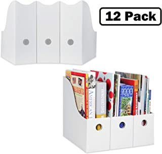 Magazine File Holder (Set of 12, White), Sturdy Cardboard Magazine Holder, Folder Holder, Magazine Organizer, Folder Organizer, Magazine Box, File Storage, or Book Bins for Classroom Library Organizer