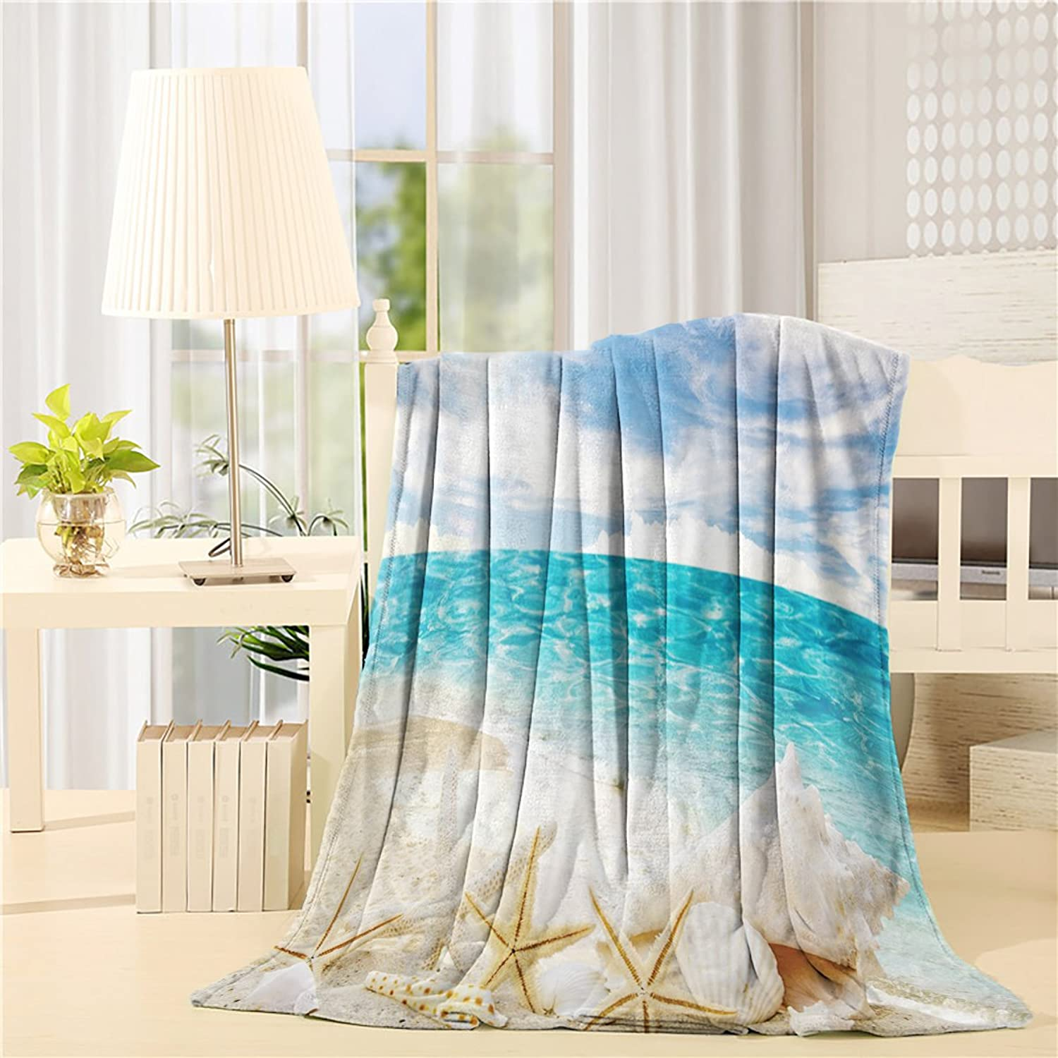 COLORSUM Seaside Soft Plush Throw Blanket 60x80 inch Printed Flannel Fleece Blanket for Bedroom Living Room Couch Bed Sofa  Sunny Day Starfish Shells On Beach