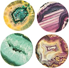 قواعد أكواب من الحجر المقاوم للمياه NC11 من كوستر ستون متعدد الألوان وعقيق متنوعة، 10.16 سم