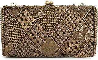 MyBatua Kylie Gold Antiquität Box Tasche Hand Bestickt Hard Body Purse ACP-449-Gold
