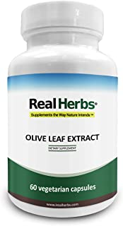 Real Herbs Olive Leaf Extract (NON-GMO)750mg – Standardized to 20% Oleuropein Super Strength - 60 Vegetarian Capsules
