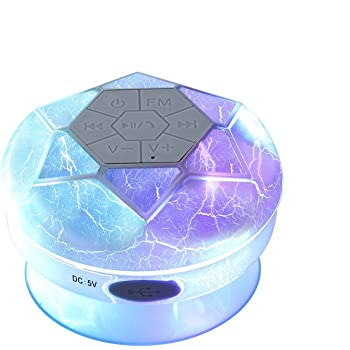 Hromen Diamond Bluetooth Speaker, IPX4 Waterproof Portable Wireless Shower Speaker with FM Radio,HD Sound,TWS, Suction Cup & Compatible for Smart Phones, RGB Light Inside,Cracking Tattoo (Off-White)
