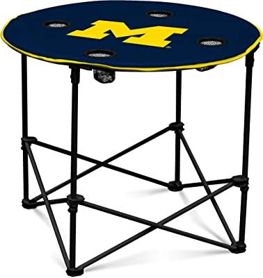 Michigan Wolverines Collapsible Round Table with 4 Cup Holders and Carry Bag