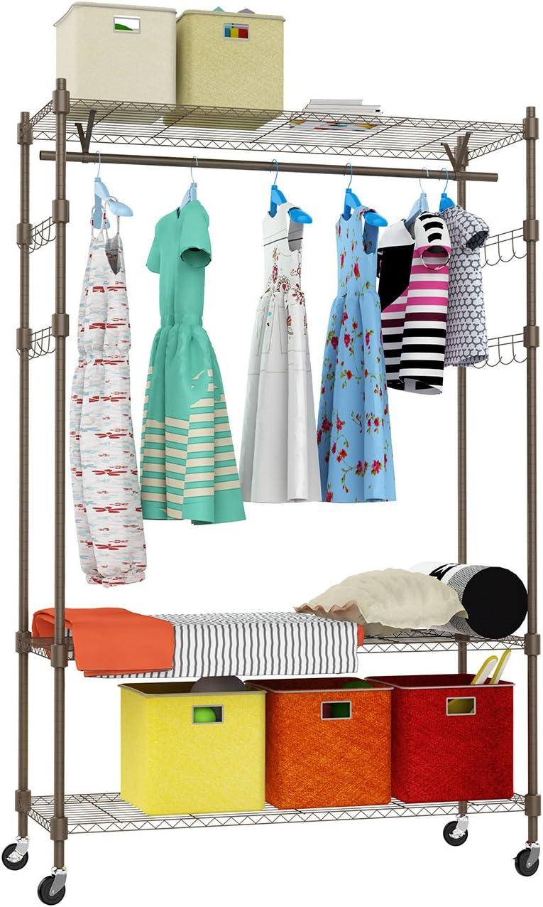 Kemanner Heavy Duty Rolling Garment Rack 3-Tiers Wire Shelving W/Hanger Bar & Lockable Wheels & 2 Pair Side Hooks - Hold Up to 400Lbs (Gray, 1Rod 4Hook)