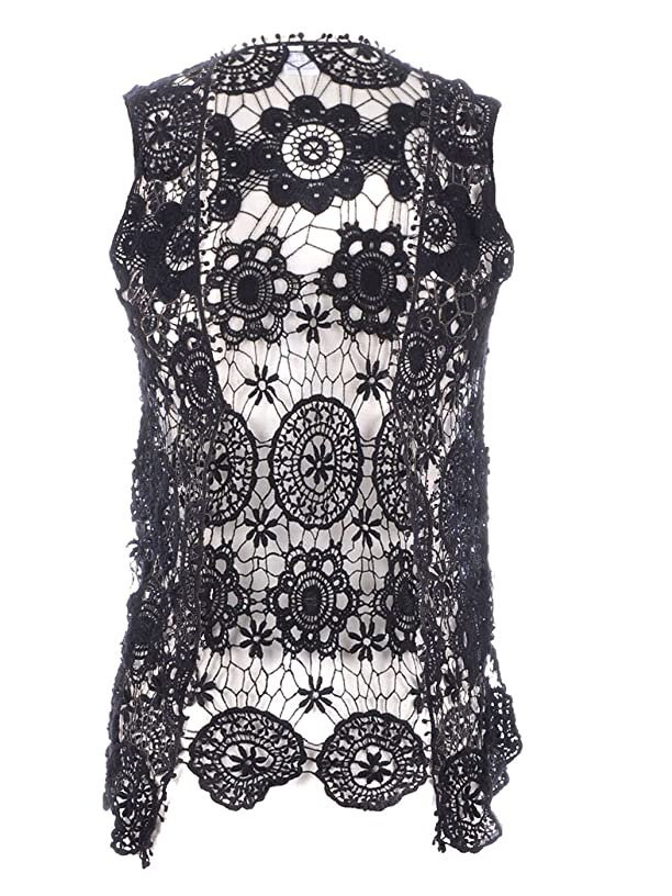 Anna-Kaci Womens Floral Crochet Lace Trim Sleeveless Open Front Vest Cardigan