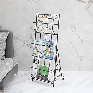 XJYBJF Floor Standing Magazine Rack Holder Organizer, Brochure Magazine Catalog Literature Display Holder Rack, Elegant Design Metal Rack for Home, Trade Show, Office and Retail Store