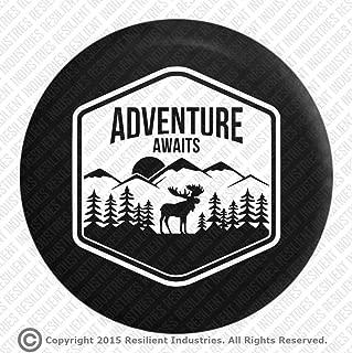 Resilient Industries Jeep Wrangler Spare Tire Cover Moose Adventure Badge Jk Tj Lj Yj Cj Unlimited Rubicon 4X4 Heart Nature Moab Sahara (30-32 Tire)