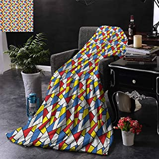 ZSUO Sofa Blanket Geometric Shapes Composition with Colorful Stained Glass Design Grid Illustration Warm & Hypoallergenic Washable Couch/Bed Throws 50