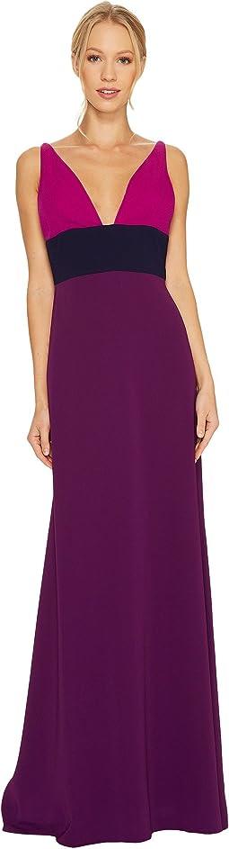 V-Neck Color Block Gown