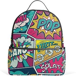 Colorful Pop Art Retro Comic Backpack School Bookbag for Girls Boys Kids