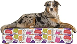 Lunarable Jam Dog Bed, Cute Cartoon Colorful Repeating Pattern with Homemade Fruit Marmalade in Jars Print, Dog Pillow with High Resilience Visco Foam for Pets, 32