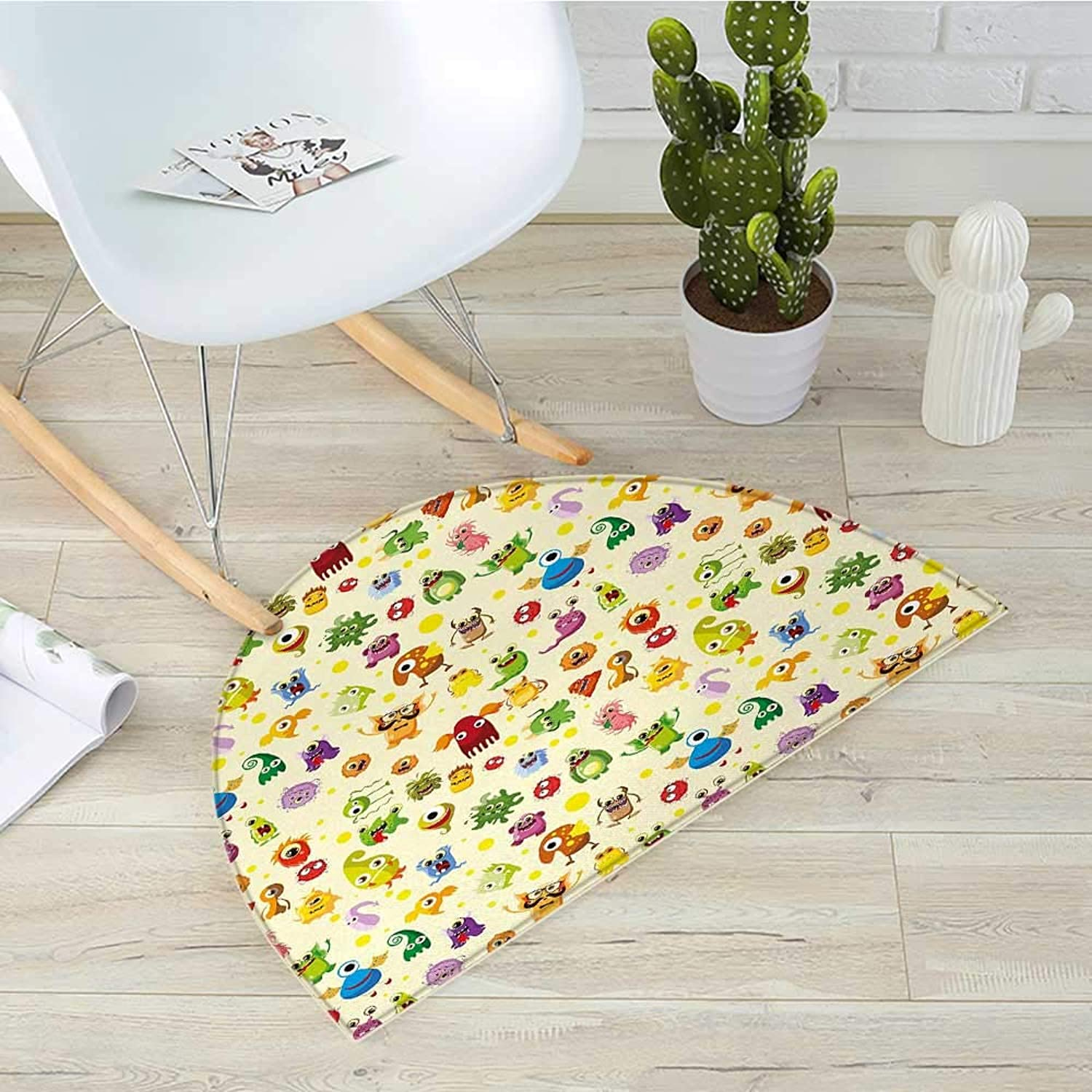 Kids Semicircular CushionDrawings Different Cartoon Style Characters Cute Monsters Funny Animals and Mutants Entry Door Mat H 51.1  xD 76.7  Multicolor