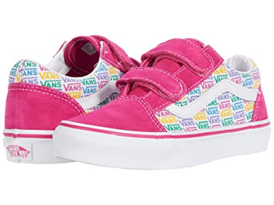 Vans Kids Old Skool V (Little Kid) ((Rainbow Vans) Cabaret/True White) Girls Shoes
