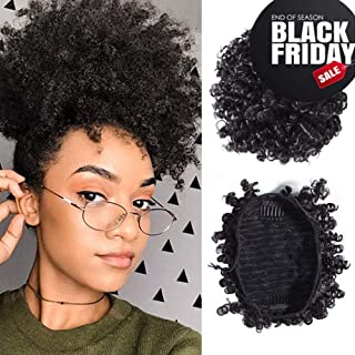 Donmily Afro Puff Drawstring Ponytail Short Kinky Curly Human Hair Bun Extension Donut Chignon Hairpieces Wig Updo Hair Extensions with Two Clips for Black Women (8, 1B)