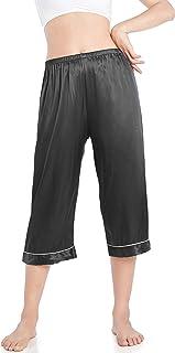 Wantschun Womens Capri Pajama Pants Satin Silk Causal Lounge Bottoms Sleep Pants Nightwear Loose Fit Elastic Waist