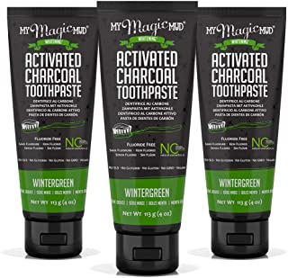 My Magic Mud Charcoal Teeth Whitening Toothpaste, Verified Enamel Safe & Clinically Proven, Organic Coconut Oil, Essential Oils, Best Natural Whitener, Fluoride-Free, Vegan, Wintergreen 3-pack (4oz)