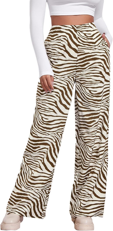 Romwe Women's Zebra Striped High Waisted Casual Wide Leg Palazzo Pants Trousers with Pocket