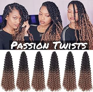 6Pcs 18 Inch Passion Twist Hair Long Bohemian Braids for Passion Twist Crochet Braiding Hair Water Wave Crochet Braids Hair Synthetic Fiber Natural Hair Extensions (T1B/30)