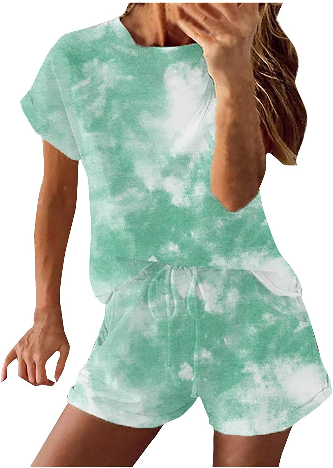 XINXX Women's 2 Piece Outfit Sweatsuit Short Sleeve Round Neck Flore Floral Print Tracksuit Casual Loose Tshirts Sets