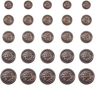 PH PandaHall 50pcs 5 Size Antique Bronze Flat Round Brass Shank Buttons with Naval Anchor Buttons Set for Blazer Suits Spo...