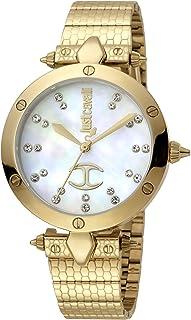 Just Cavalli JC Logo Ladies Ivory Dial Stainless Steel Analog Watch - JC1L122M0075