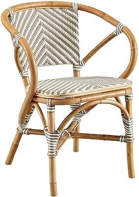 Oliver Pierce Baskerville Chevron Bistro Chair, Grey and White